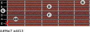 A#Maj7(add13) for guitar on frets x, 1, 3, 0, 3, 5