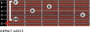 A#Maj7(add13) for guitar on frets x, 1, 5, 2, 3, 1