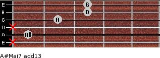 A#Maj7(add13) for guitar on frets x, 1, x, 2, 3, 3