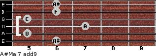 A#Maj7(add9) for guitar on frets 6, 5, 7, 5, 6, 6