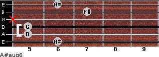 A#aug6 for guitar on frets 6, 5, 5, x, 7, 6