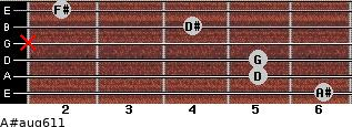 A#aug6/11 for guitar on frets 6, 5, 5, x, 4, 2