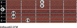 A#aug6/11/F# for guitar on frets 2, 1, 1, 0, 3, 3