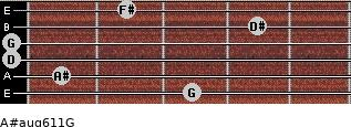 A#aug6/11/G for guitar on frets 3, 1, 0, 0, 4, 2
