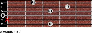 A#aug6/11/G for guitar on frets 3, x, 0, 3, 4, 2
