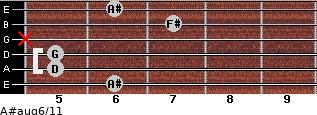 A#aug6/11 for guitar on frets 6, 5, 5, x, 7, 6
