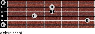 A#(b5)/E for guitar on frets 0, 5, 2, 3, 3, 0