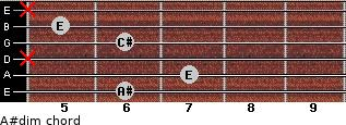 A#dim for guitar on frets 6, 7, x, 6, 5, x
