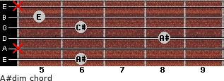 A#dim for guitar on frets 6, x, 8, 6, 5, x