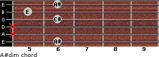 A#dim for guitar on frets 6, x, x, 6, 5, 6