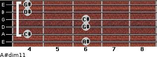 A#dim11 for guitar on frets 6, 4, 6, 6, 4, 4
