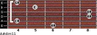 A#dim11 for guitar on frets 6, 4, 8, 8, 5, 4