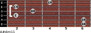 A#dim11 for guitar on frets 6, 6, 2, 3, 2, 4