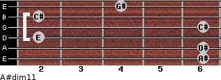 A#dim11 for guitar on frets 6, 6, 2, 6, 2, 4