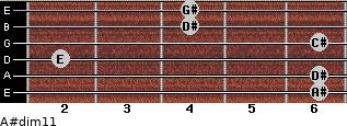 A#dim11 for guitar on frets 6, 6, 2, 6, 4, 4