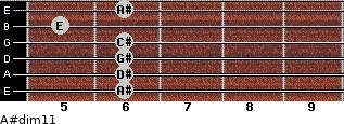 A#dim11 for guitar on frets 6, 6, 6, 6, 5, 6