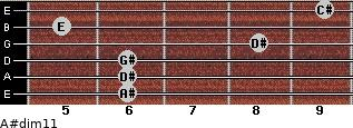 A#dim11 for guitar on frets 6, 6, 6, 8, 5, 9