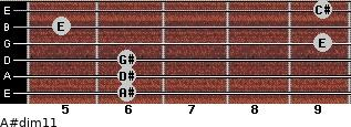 A#dim11 for guitar on frets 6, 6, 6, 9, 5, 9