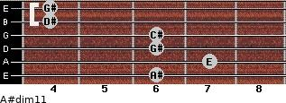 A#dim11 for guitar on frets 6, 7, 6, 6, 4, 4