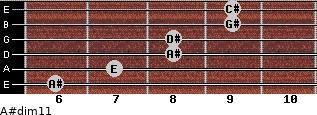 A#dim11 for guitar on frets 6, 7, 8, 8, 9, 9