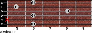 A#dim11 for guitar on frets 6, x, 6, 8, 5, 6