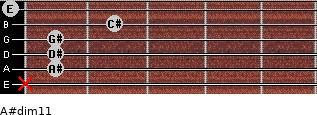 A#dim11 for guitar on frets x, 1, 1, 1, 2, 0