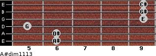 A#dim11/13 for guitar on frets 6, 6, 5, 9, 9, 9