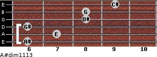 A#dim11/13 for guitar on frets 6, 7, 6, 8, 8, 9