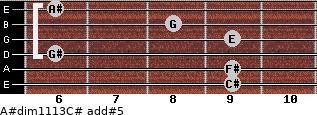 A#dim11/13/C# add(#5) guitar chord