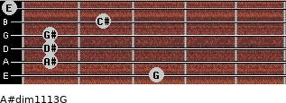 A#dim11/13/G for guitar on frets 3, 1, 1, 1, 2, 0