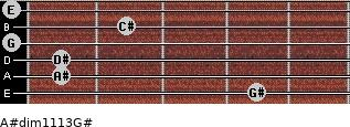 A#dim11/13/G# for guitar on frets 4, 1, 1, 0, 2, 0