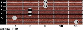 A#dim11/D# for guitar on frets 11, 7, 8, 8, 9, 9