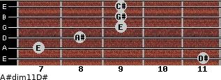 A#dim11/D# for guitar on frets 11, 7, 8, 9, 9, 9