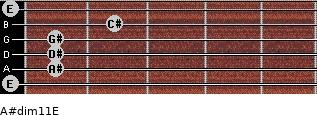 A#dim11/E for guitar on frets 0, 1, 1, 1, 2, 0