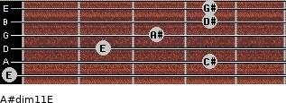 A#dim11/E for guitar on frets 0, 4, 2, 3, 4, 4