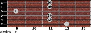 A#dim11/E for guitar on frets 12, 11, 11, 9, 11, 11
