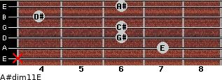 A#dim11/E for guitar on frets x, 7, 6, 6, 4, 6