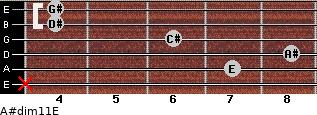 A#dim11/E for guitar on frets x, 7, 8, 6, 4, 4