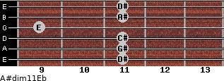 A#dim11/Eb for guitar on frets 11, 11, 11, 9, 11, 11