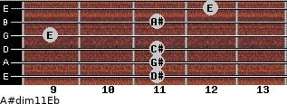 A#dim11/Eb for guitar on frets 11, 11, 11, 9, 11, 12