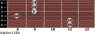A#dim11/Eb for guitar on frets 11, 11, 8, 9, 9, 9