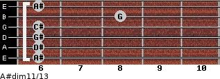 A#dim11/13 for guitar on frets 6, 6, 6, 6, 8, 6