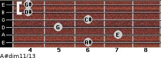 A#dim11/13 for guitar on frets 6, 7, 5, 6, 4, 4