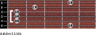 A#dim11/Ab for guitar on frets 4, 1, 1, 1, 2, 4
