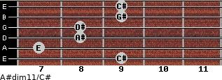 A#dim11/C# for guitar on frets 9, 7, 8, 8, 9, 9