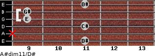 A#dim11/D# for guitar on frets 11, x, 11, 9, 9, 11
