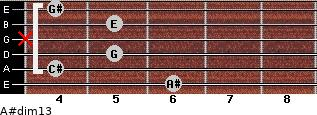 A#dim13 for guitar on frets 6, 4, 5, x, 5, 4