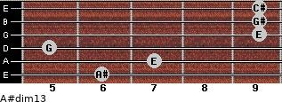 A#dim13 for guitar on frets 6, 7, 5, 9, 9, 9