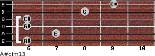 A#dim13 for guitar on frets 6, 7, 6, 6, 8, 9