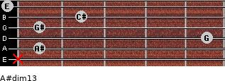 A#dim13 for guitar on frets x, 1, 5, 1, 2, 0